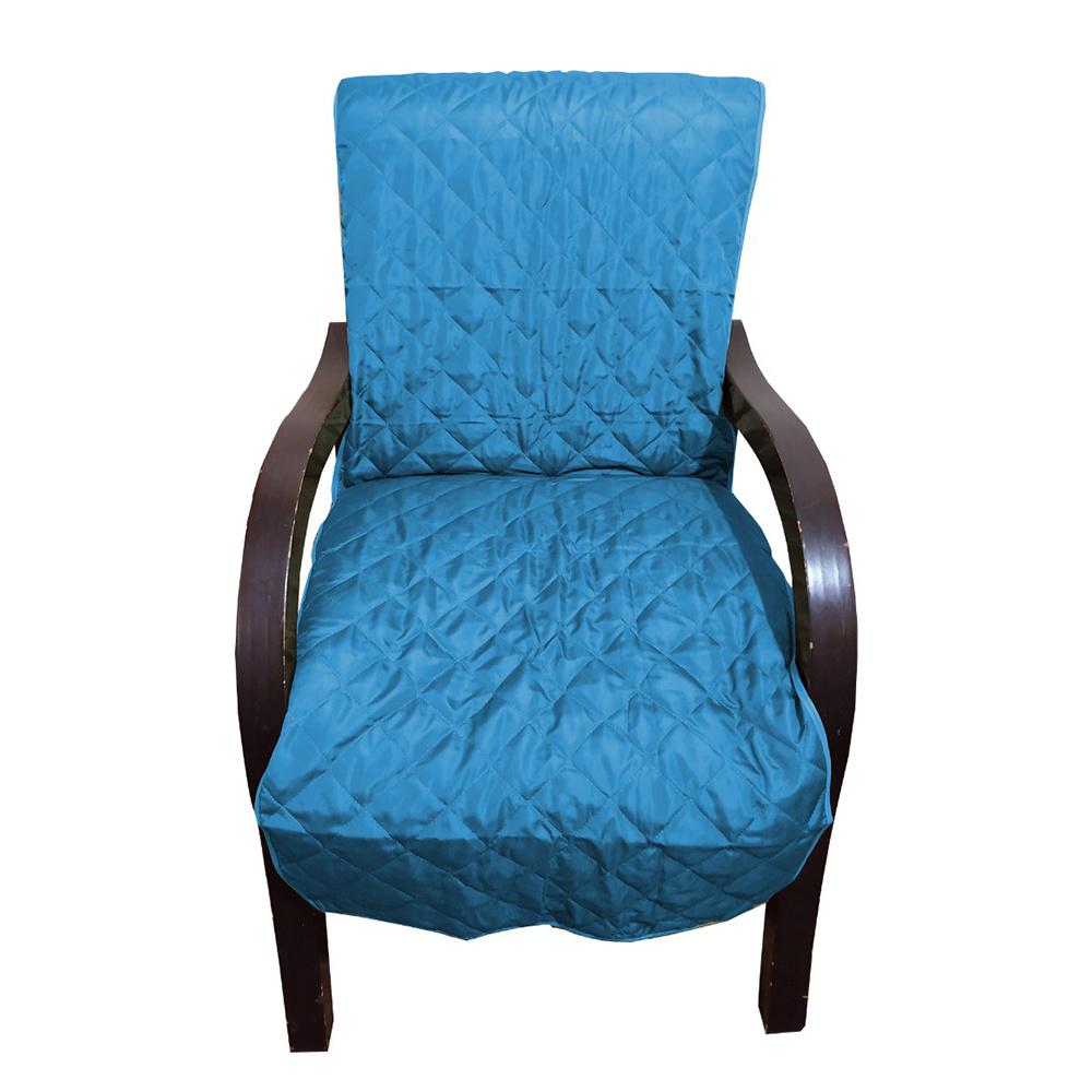 Capa Para Cadeira Poltrona Matelada Sem Braços Com Fita De Fixação E Assento De 55Cm - Azul Celeste