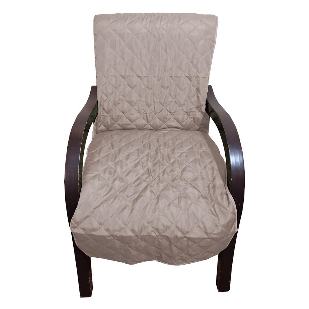 Capa Para Cadeira Poltrona Matelada Sem Braços Com Fita De Fixação E Assento De 55Cm -  Cáqui