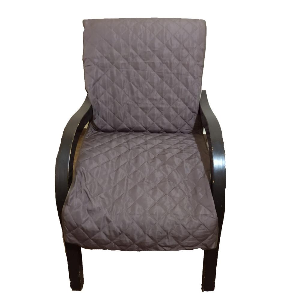 Capa Para Cadeira Poltrona Matelada Sem Braços Com Fita De Fixação E Assento De 55Cm - Chumbo