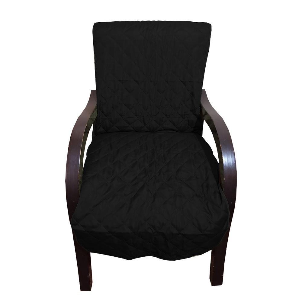 Capa Para Cadeira Poltrona Matelada Sem Braços Com Fita De Fixação E Assento De 55Cm - Preto