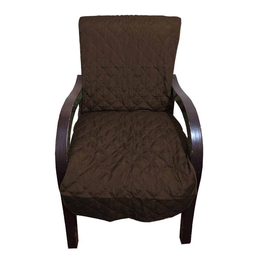 Capa Para Cadeira Poltrona Matelada Sem Braços Com Fita De Fixação E Assento De 55Cm - Tabaco