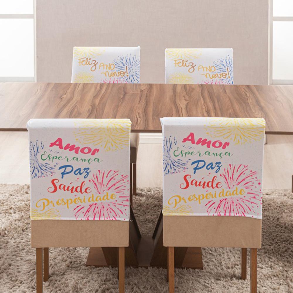 Capa Para Encosto De Cadeira De Jantar 04 Peças Estampada Em Malha Gel - Ano Novo