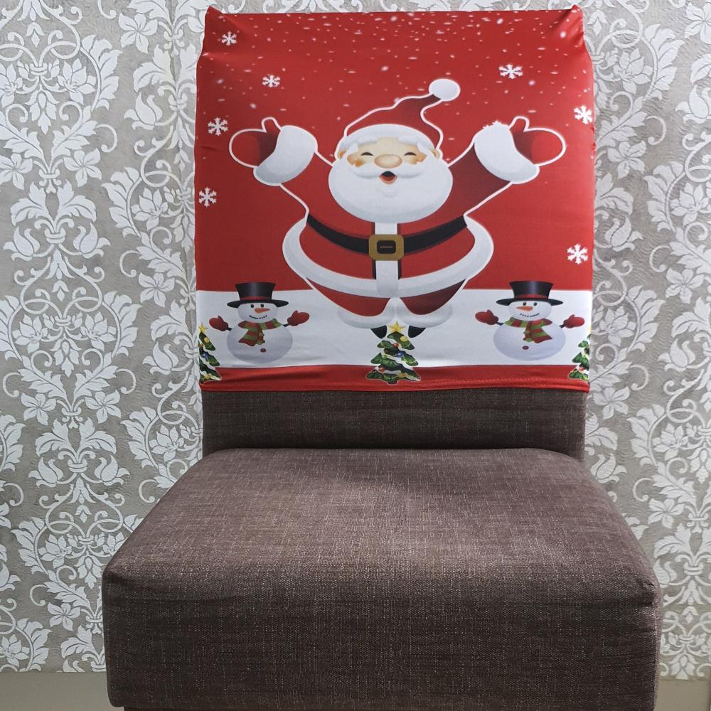 Capa Para Encosto De Cadeira De Jantar Estampada Em Malha Gel  - Natal