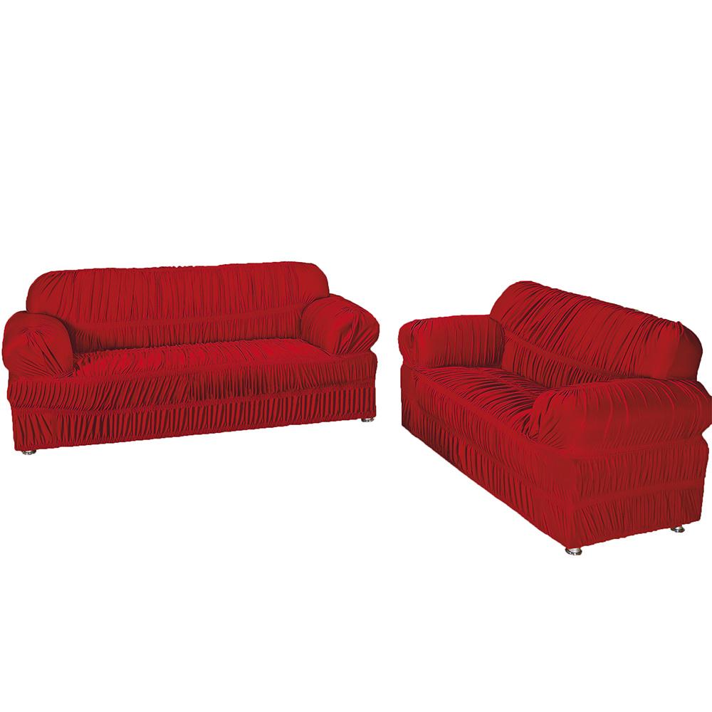 Capa Protetora De Sofá Em Malha Gel Com 21 Elásticos 3 E 2 Lugares - Vermelho