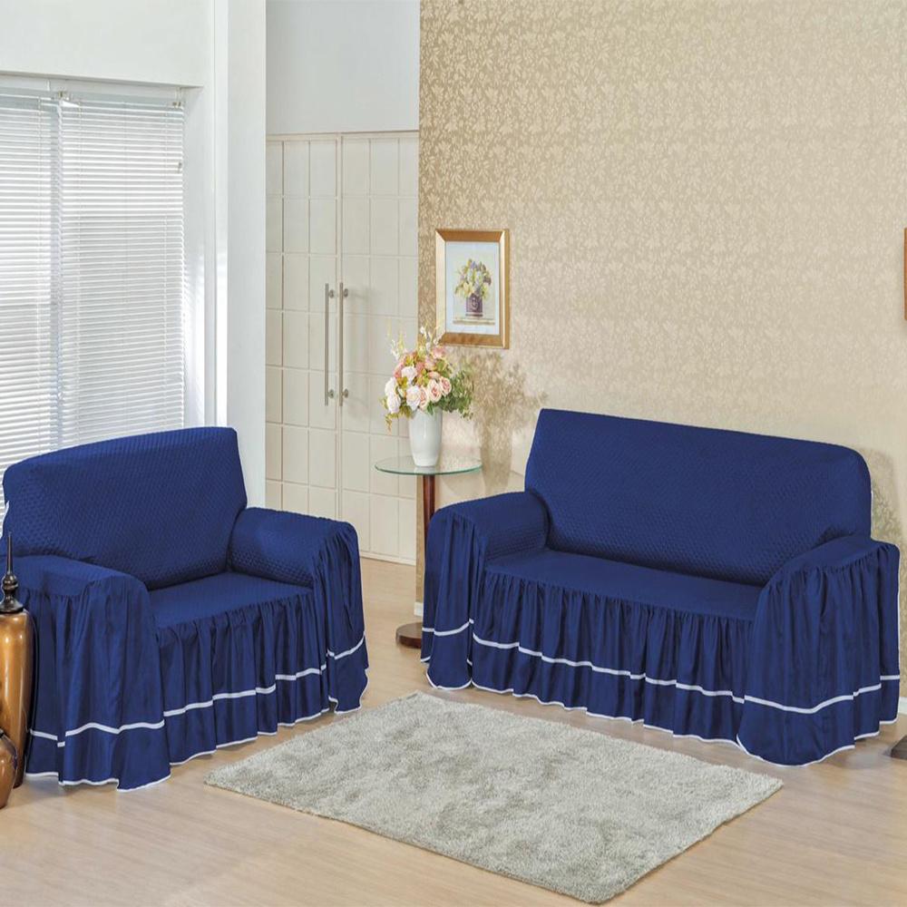 Capa Protetora De Sofá Microfibra Matelado Com Babado 3 E 2 Lugares Isabella - Azul