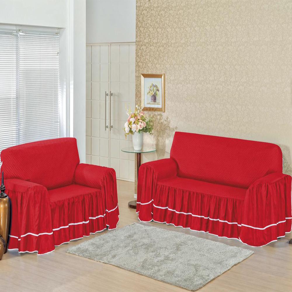 Capa Protetora De Sofá Microfibra Matelado Com Babado 3 E 2 Lugares Isabella - Vermelho