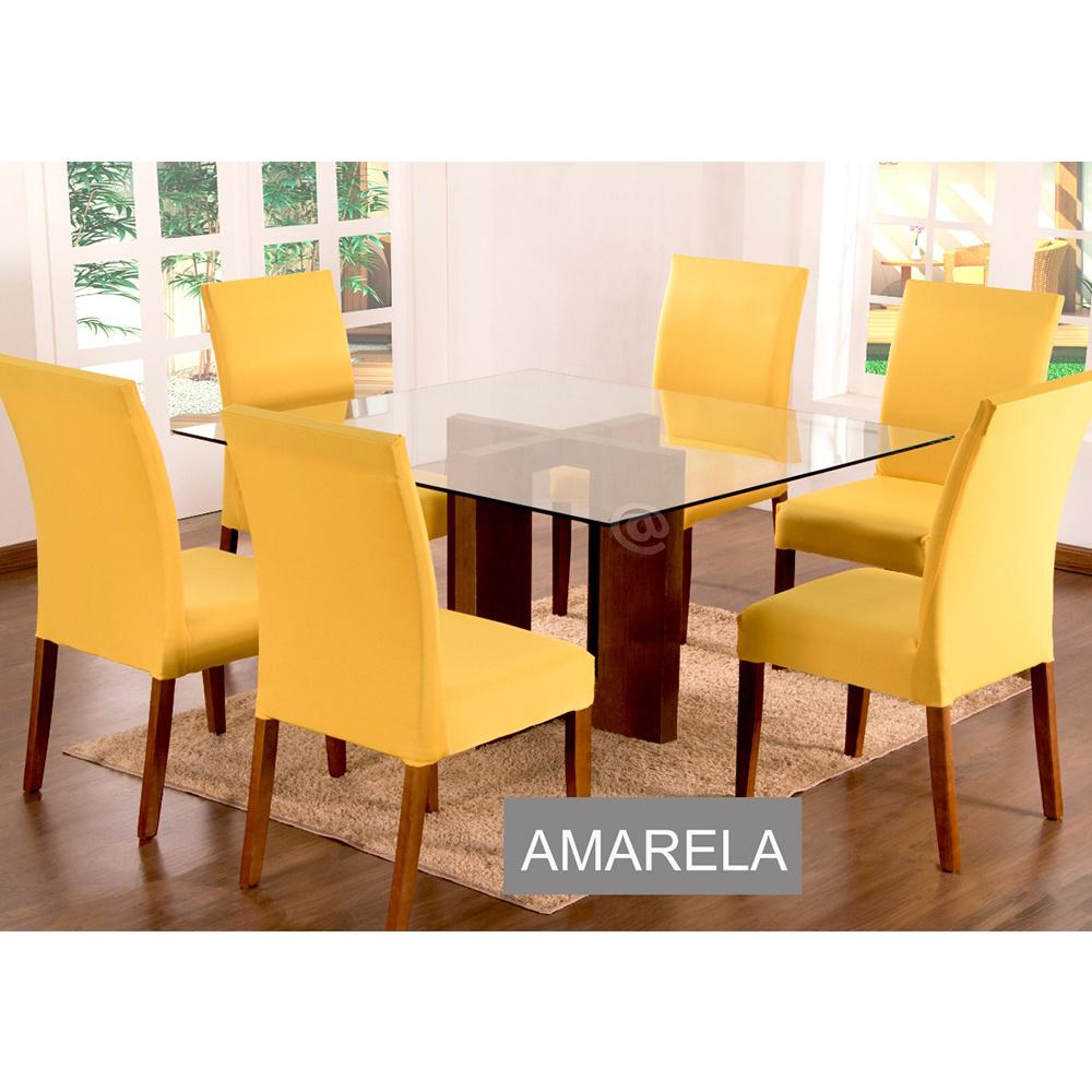 Capas Para Cadeiras De Jantar 04 Peças Em Malha Gel Lisa - Amarelo