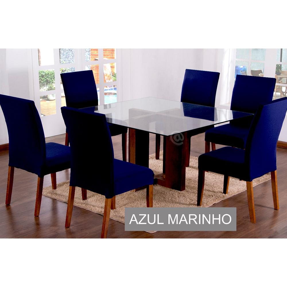 Capas Para Cadeiras De Jantar 04 Peças Em Malha Gel Lisa - Azul Marinho