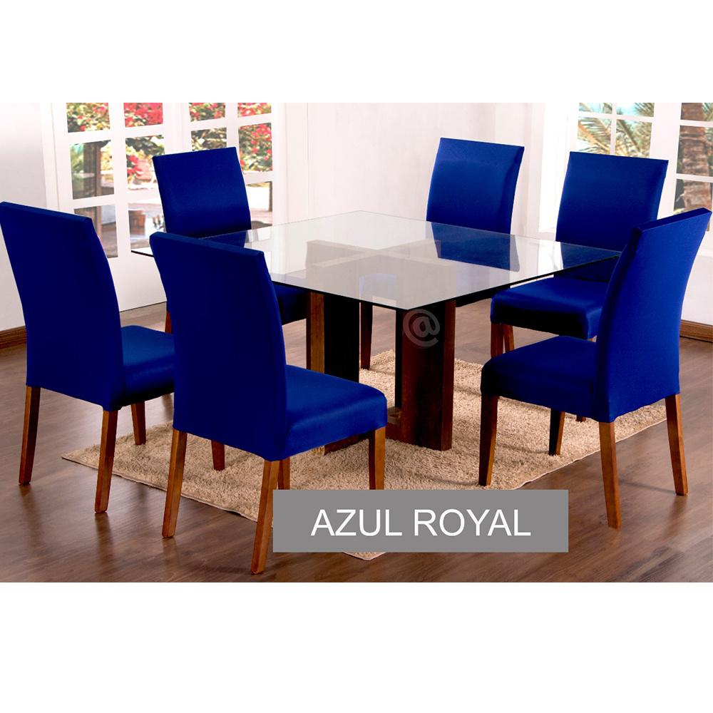 Capas Para Cadeiras De Jantar 04 Peças Em Malha Gel Lisa - Azul Royal