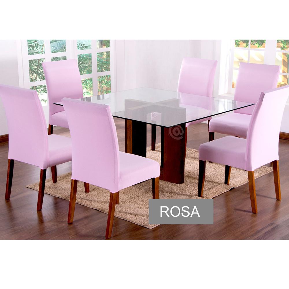 Capas Para Cadeiras De Jantar 04 Peças Em Malha Gel Lisa - Rosa