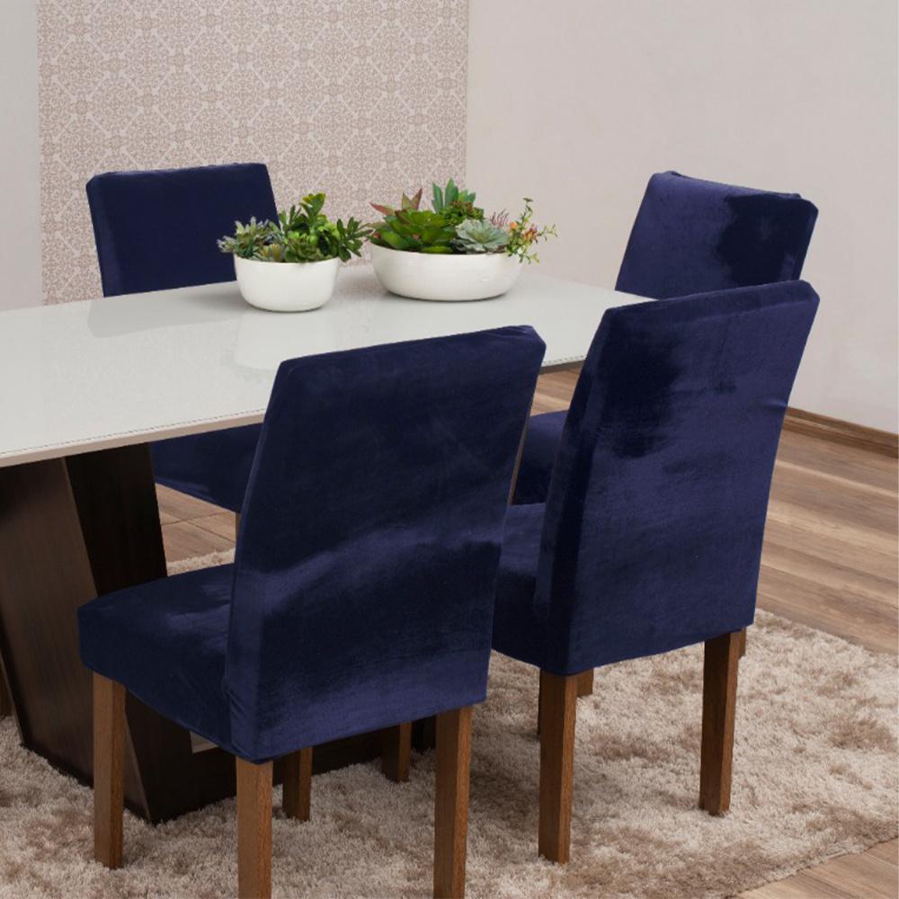 Capas Para Cadeiras De Jantar Tecido Veludo Com Aspecto Molhado 04 Peças Lisa - Azul Marinho