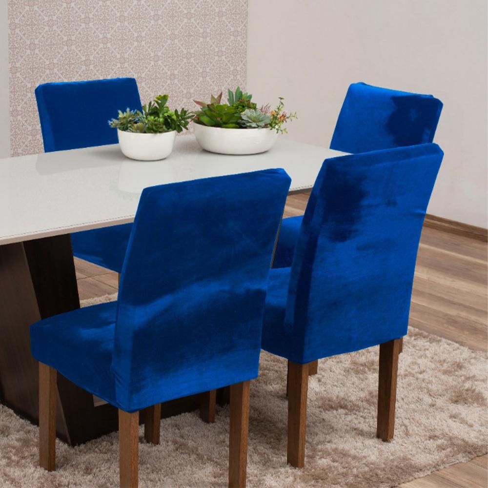 Capas Para Cadeiras De Jantar Tecido Veludo Com Aspecto Molhado 04 Peças Lisa - Azul Royal
