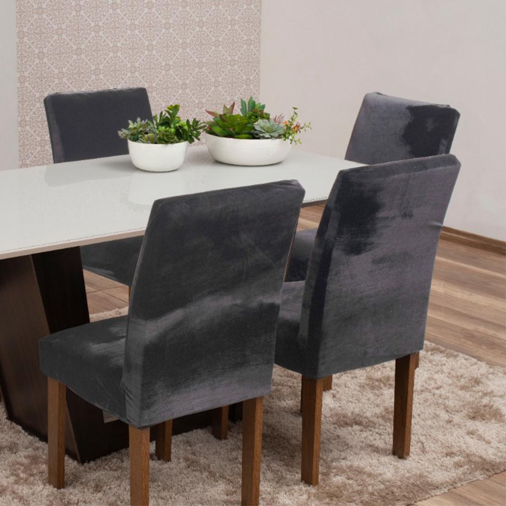Capas Para Cadeiras De Jantar Tecido Veludo Com Aspecto Molhado 04 Peças Lisa - Cinza