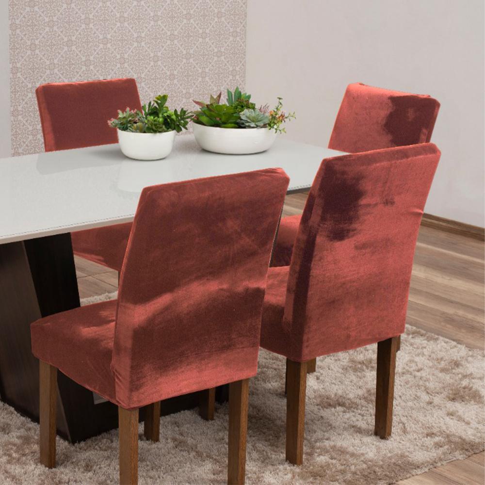 Capas Para Cadeiras De Jantar Tecido Veludo Com Aspecto Molhado 04 Peças Lisa - Cobre