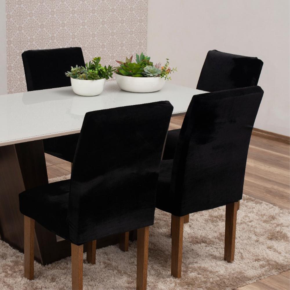 Capas Para Cadeiras De Jantar Tecido Veludo Com Aspecto Molhado 04 Peças Lisa - Preto