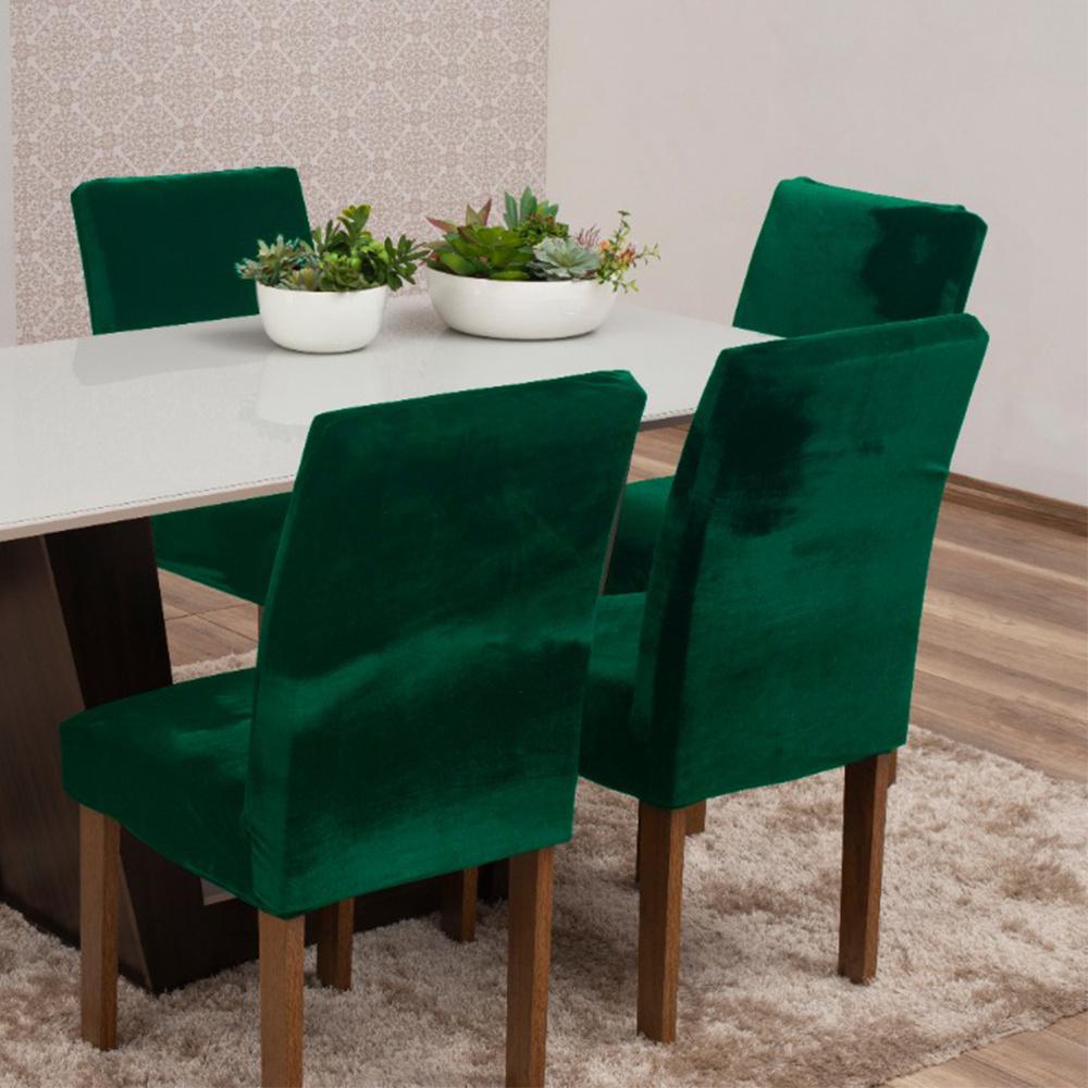 Capas Para Cadeiras De Jantar Tecido Veludo Com Aspecto Molhado 04 Peças Lisa - Verde