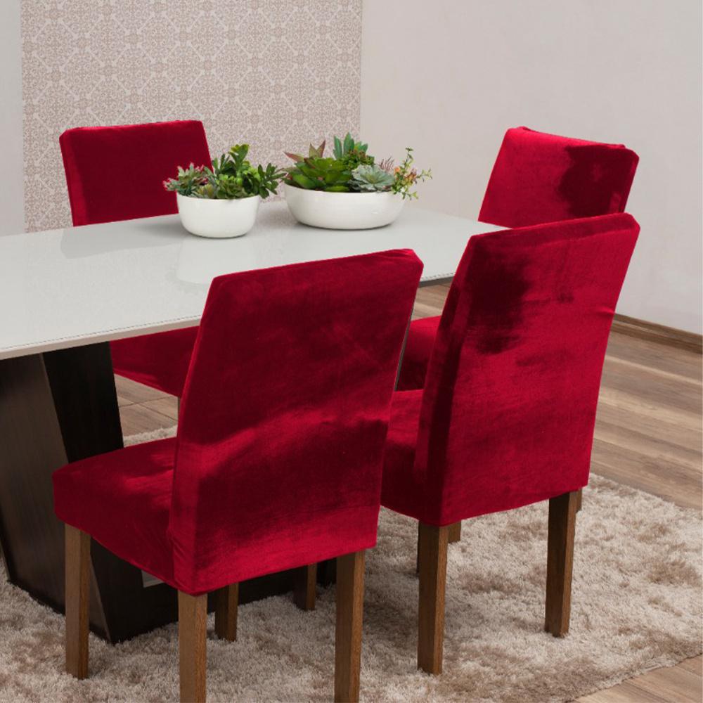 Capas Para Cadeiras De Jantar Tecido Veludo Com Aspecto Molhado 04 Peças Lisa - Vermelho