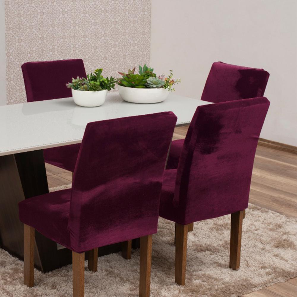 Capas Para Cadeiras De Jantar Tecido Veludo Com Aspecto Molhado 04 Peças Lisa - Vinho