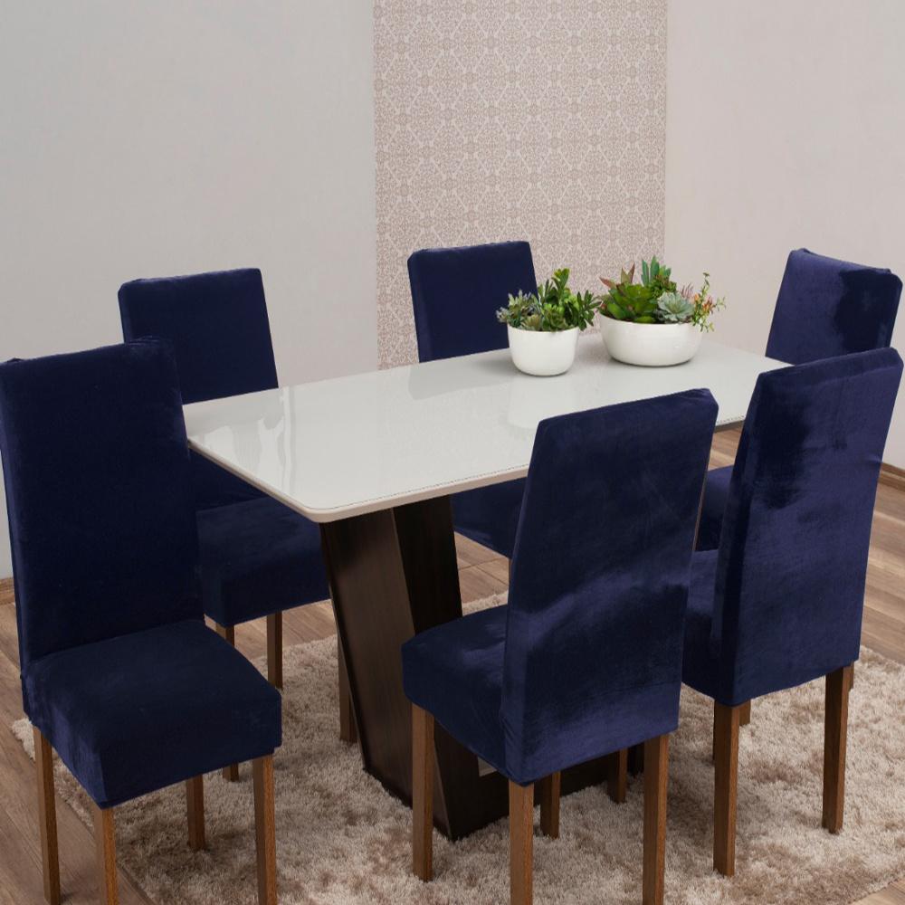 Capas Para Cadeiras De Jantar Tecido Veludo Com Aspecto Molhado 06 Peças Lisa - Azul Marinho