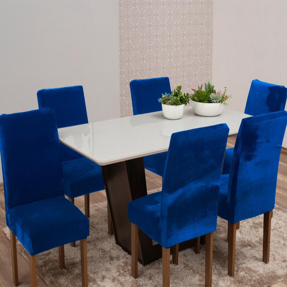 Capas Para Cadeiras De Jantar Tecido Veludo Com Aspecto Molhado 06 Peças Lisa - Azul Royal