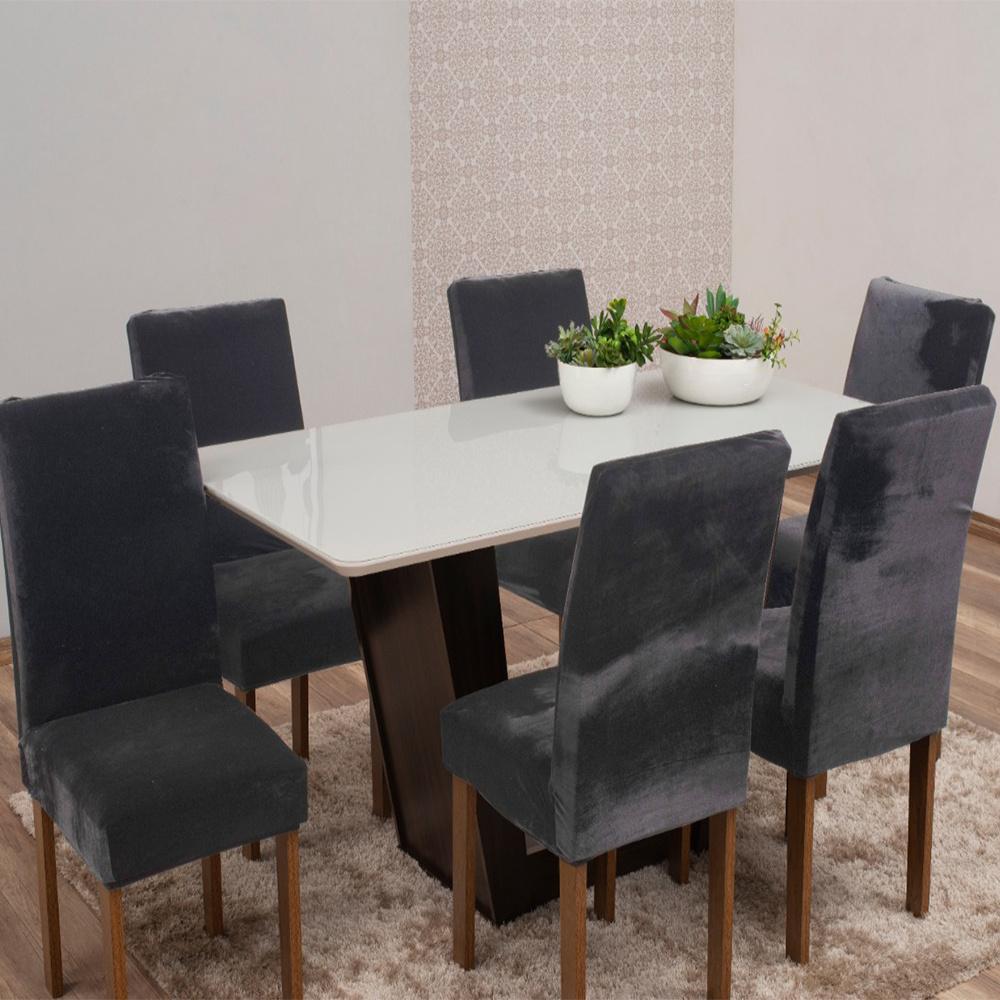 Capas Para Cadeiras De Jantar Tecido Veludo Com Aspecto Molhado 06 Peças Lisa - Cinza