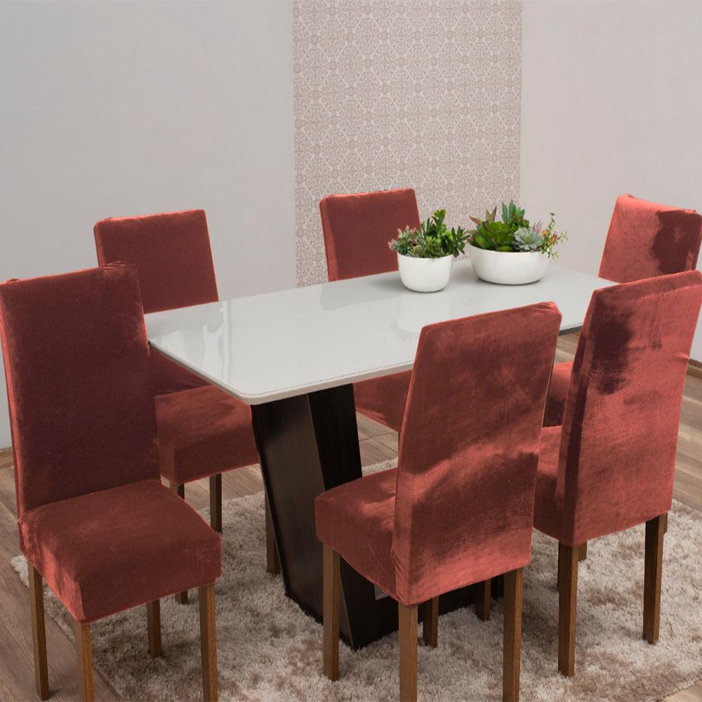 Capas Para Cadeiras De Jantar Tecido Veludo Com Aspecto Molhado 06 Peças Lisa - Cobre