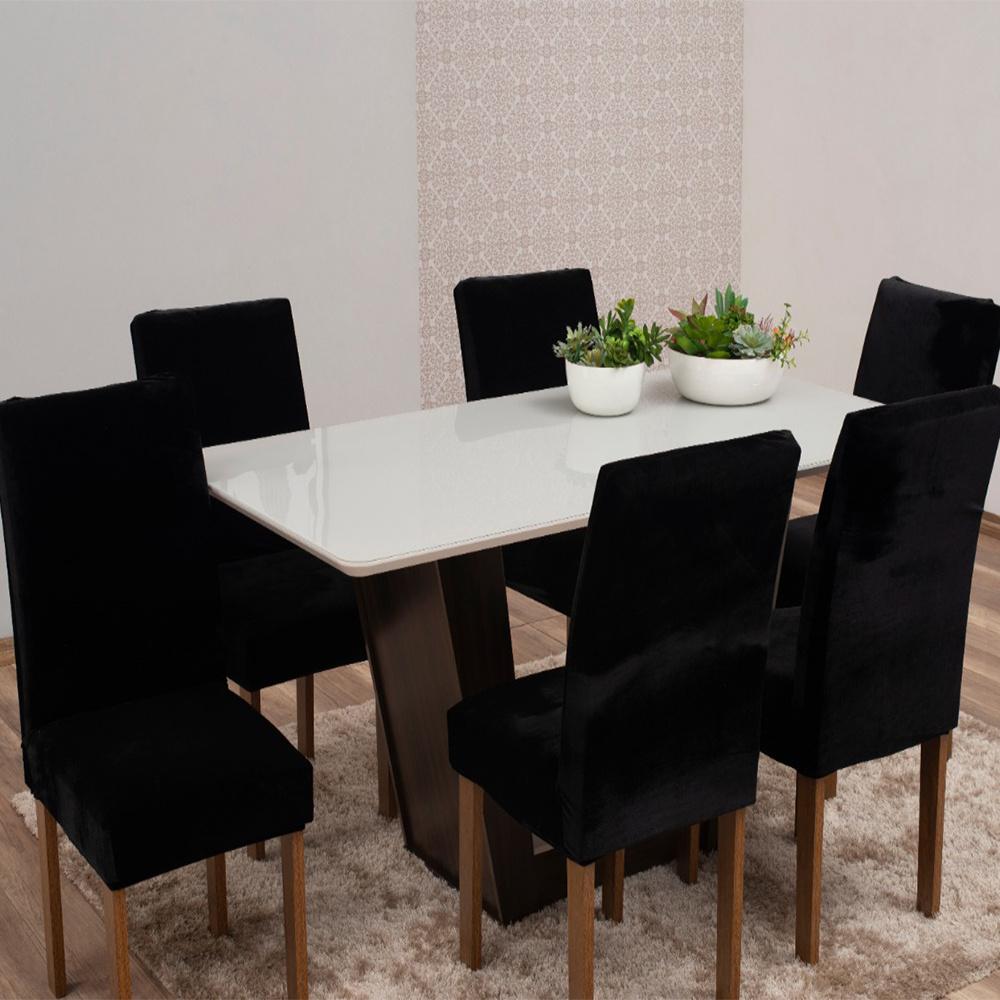 Capas Para Cadeiras De Jantar Tecido Veludo Com Aspecto Molhado 06 Peças Lisa - Preto