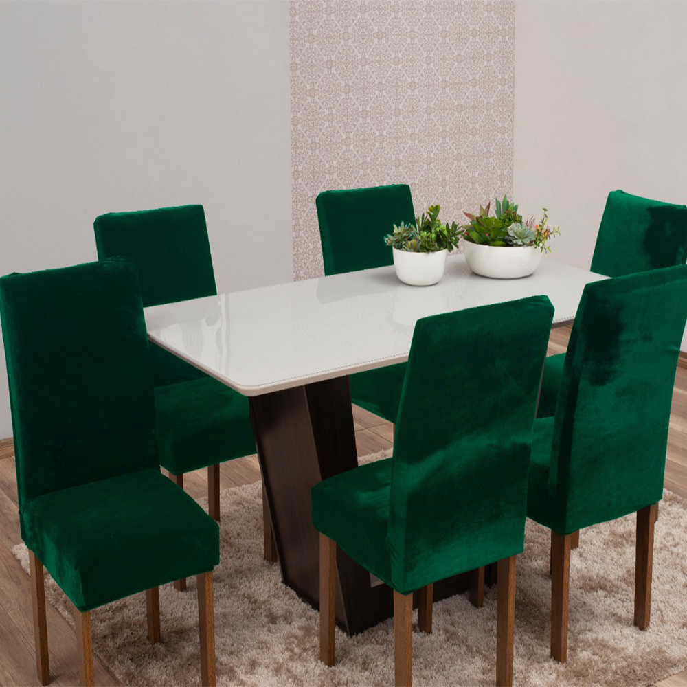 Capas Para Cadeiras De Jantar Tecido Veludo Com Aspecto Molhado 06 Peças Lisa - Verde