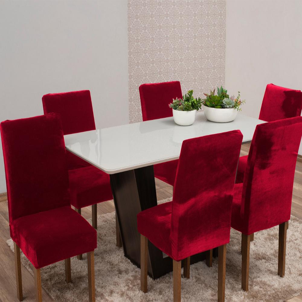 Capas Para Cadeiras De Jantar Tecido Veludo Com Aspecto Molhado 06 Peças Lisa - Vermelho