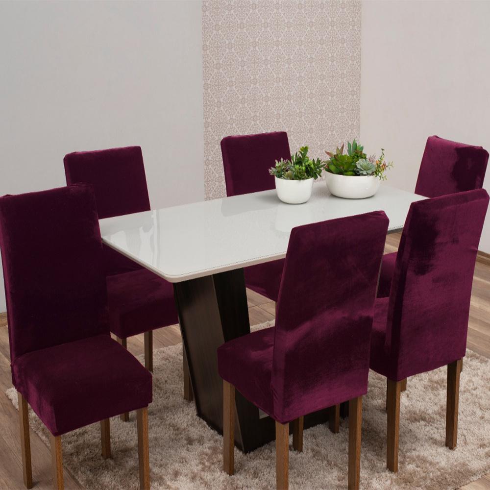 Capas Para Cadeiras De Jantar Tecido Veludo Com Aspecto Molhado 06 Peças Lisa - Vinho