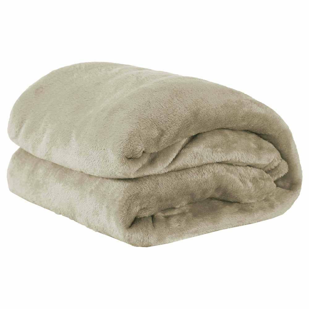 Cobertor Manta Microfibra Felpuda Casal 2,20m X 1,80m Com Toque Aveludado  - Cáqui