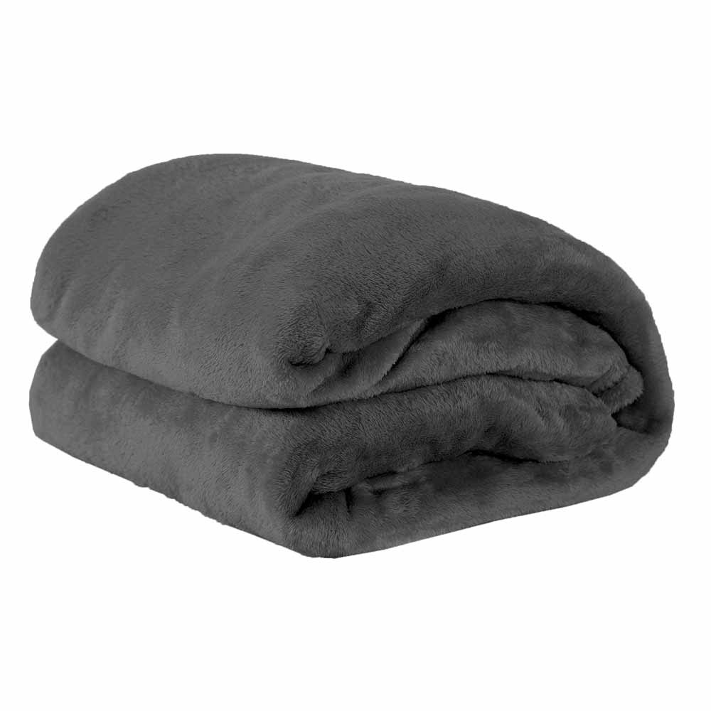 Cobertor Manta Microfibra Felpuda Casal 2,20m X 1,80m Com Toque Aveludado  - Chumbo