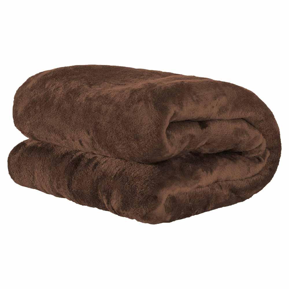 Cobertor Manta Microfibra Felpuda Casal 2,20m X 1,80m Com Toque Aveludado  - Tabaco