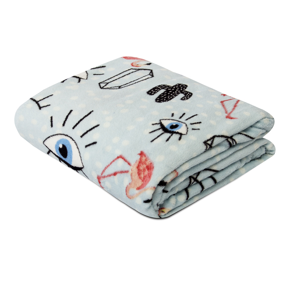 Manta Soft Fleece Microfibra Felpuda Casal 2,00m X 1,80m Com Toque Aveludado - Olhos