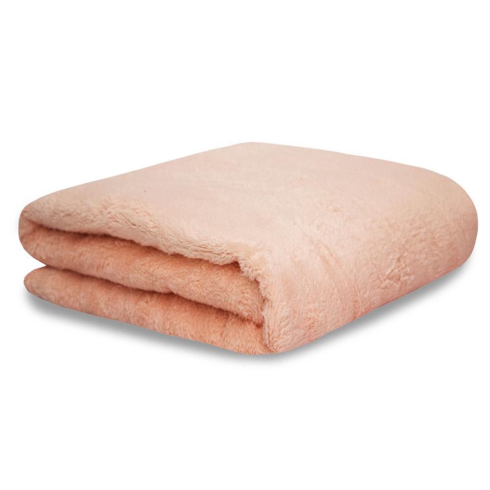 Cobertor Manta Soft Fleece Microfibra Felpuda Casal 2,00m X 1,80m Com Toque Aveludado - Rosa