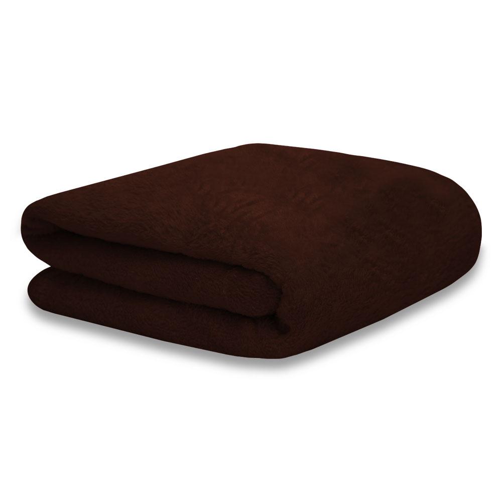 Cobertor Manta Soft Fleece Microfibra Felpuda Casal 2,00m X 1,80m Com Toque Aveludado - Tabaco