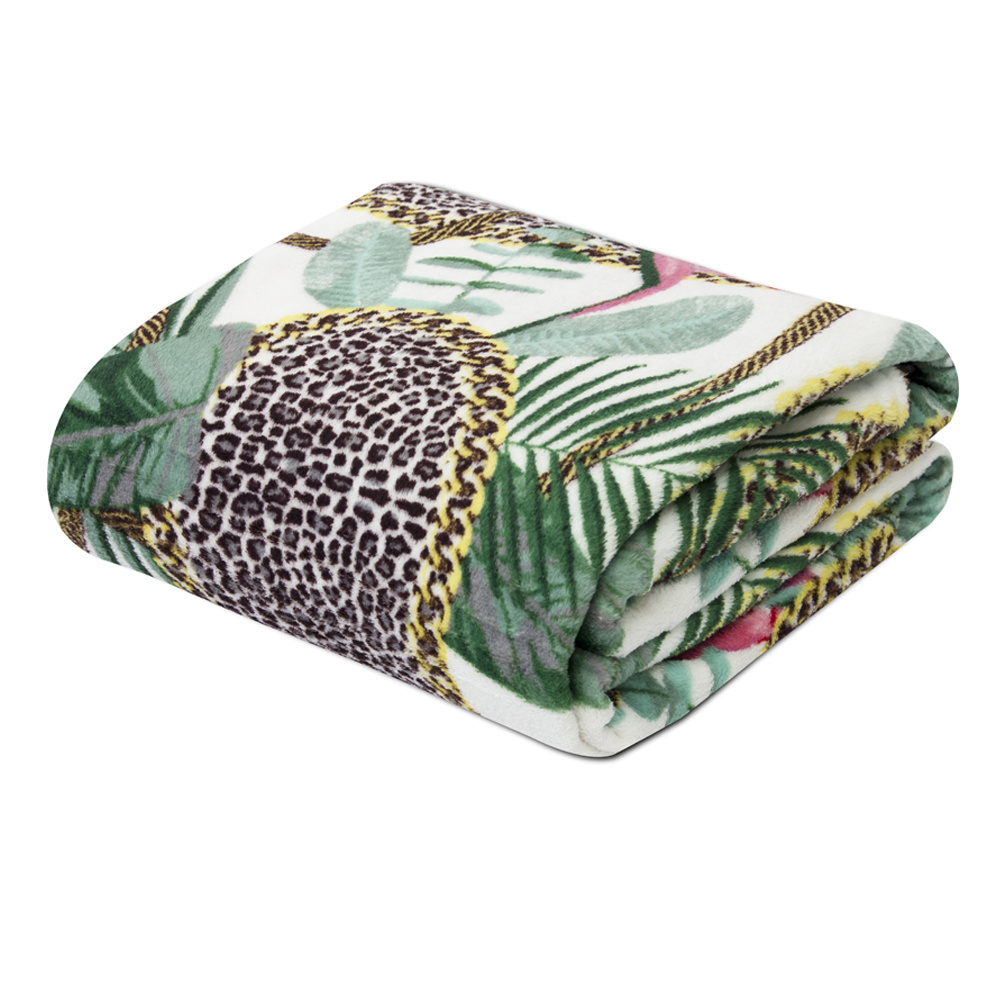 Manta Soft Fleece Microfibra Felpuda Casal 2,00m X 1,80m Com Toque Aveludado - Tropical