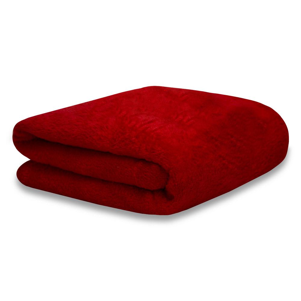 Cobertor Manta Soft Fleece Microfibra Felpuda Casal 2,00m X 1,80m Com Toque Aveludado - Vermelho