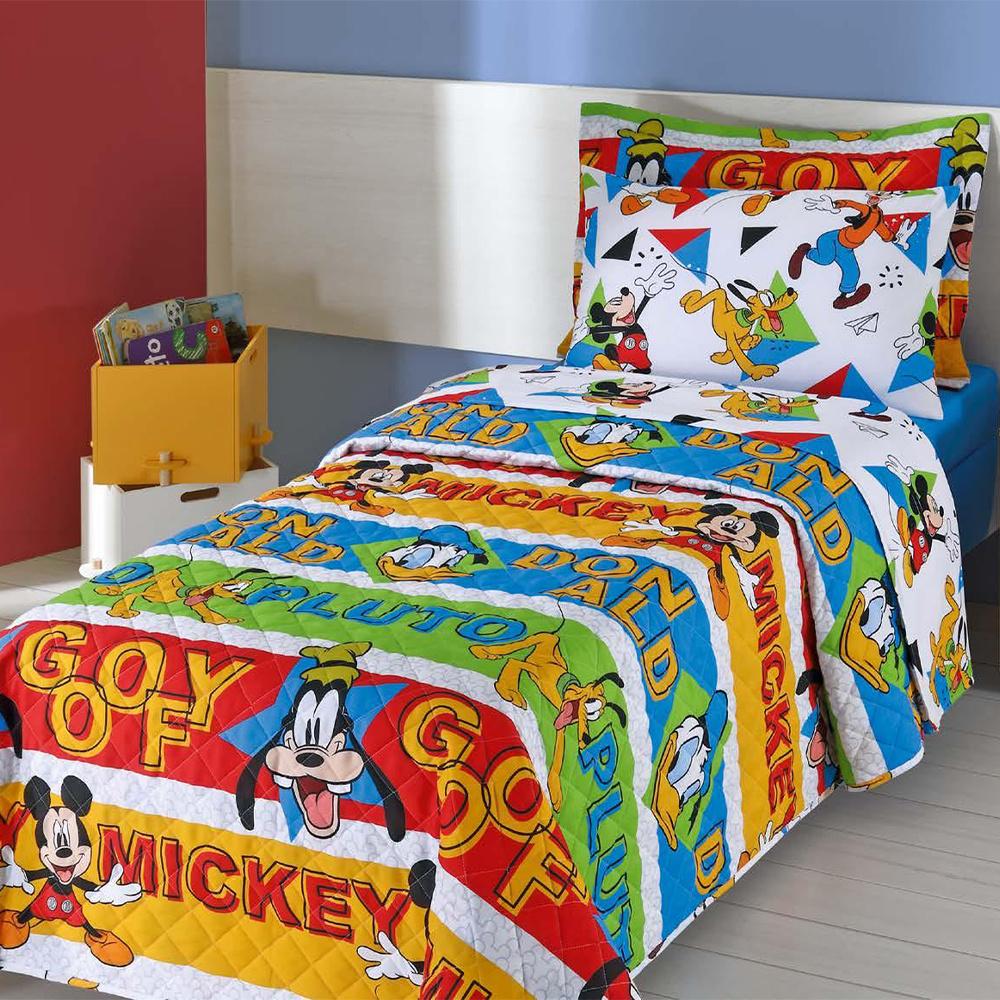 Colcha Infantil Solteiro Kit 05 Peças Personagens Da Disney - Mickey Amigos