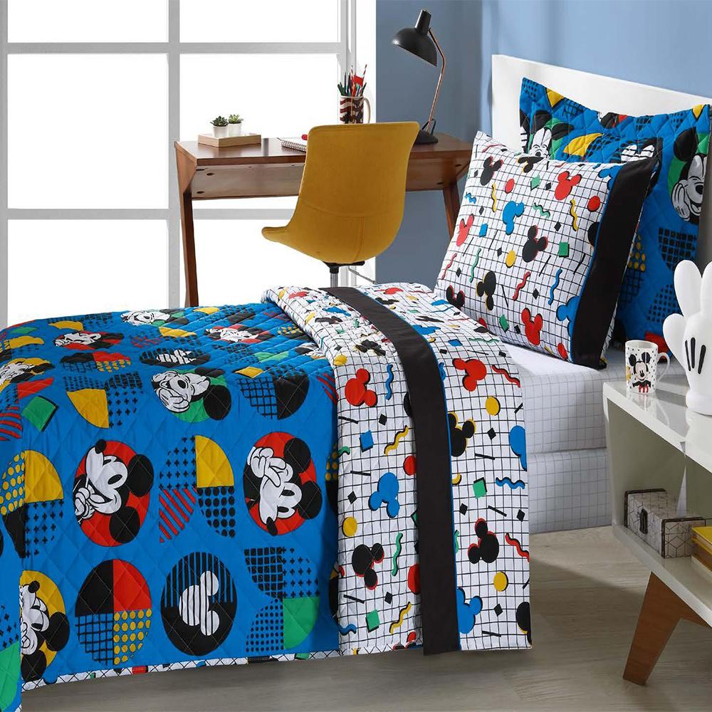 Colcha Infantil Solteiro Kit 05 Peças Personagens Da Disney - Mickey Pop