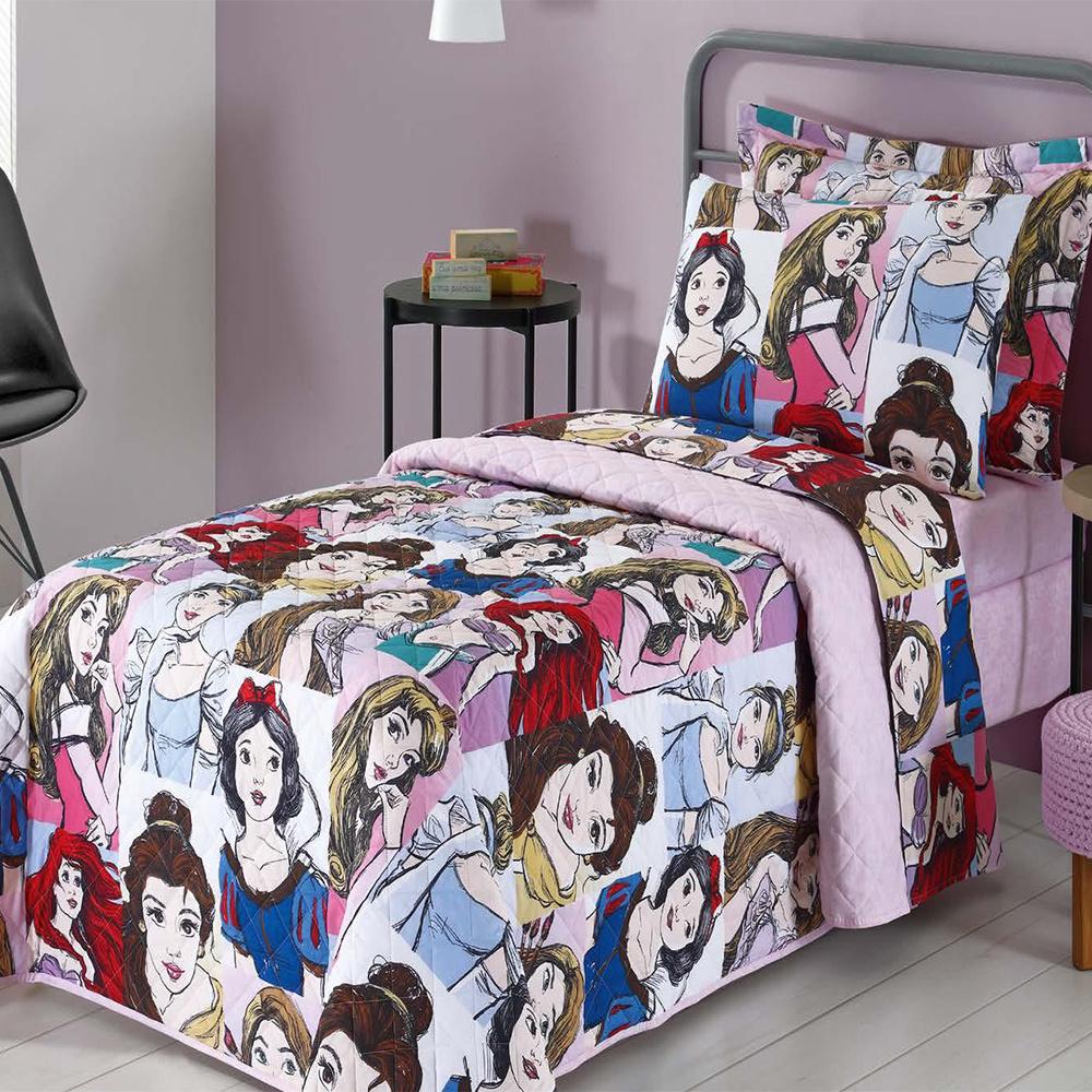 Colcha Infantil Solteiro Kit 05 Peças Personagens Da Disney - Princesas Teens