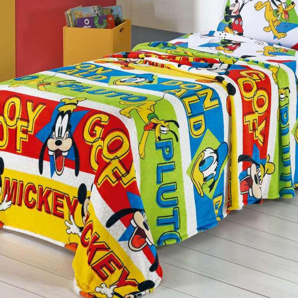Colcha Solteiro Infantil Dupla Face Matelada 02 Peças Personagens Da Disney - Mickey Amigos