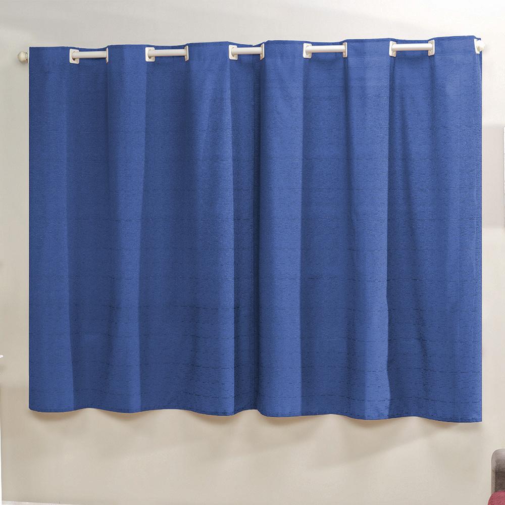 Cortina Decor Tecido Rústico 2,00M x 1,70M Para Varão Simples - Azul