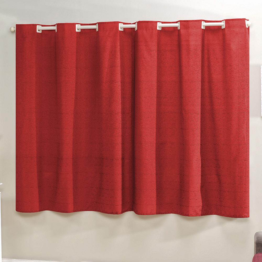 Cortina Decor Tecido Rústico 2,00M x 1,70M Para Varão Simples - Vermelho