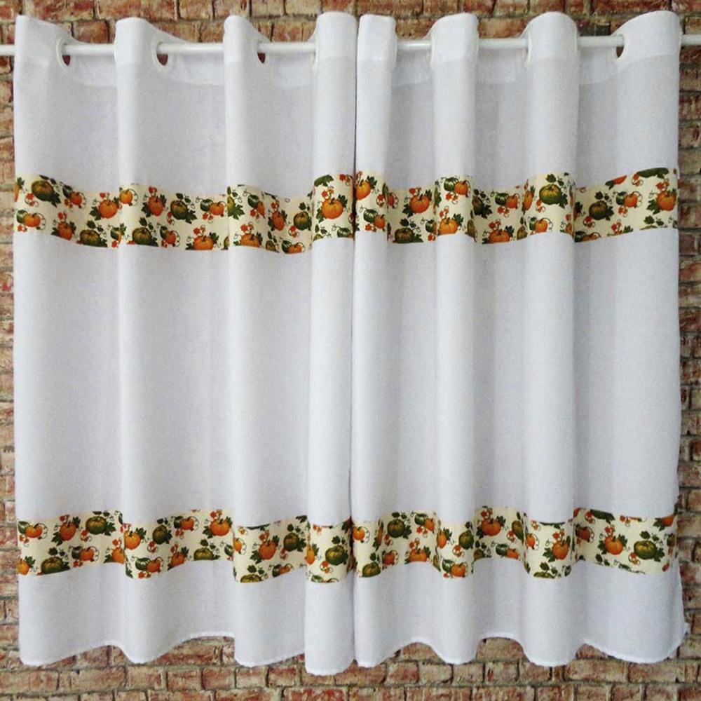 Cortina Para Cozinha Com Barrado Tecido Oxford 2,00M x 1,20M Para Varão Simples - Abobora