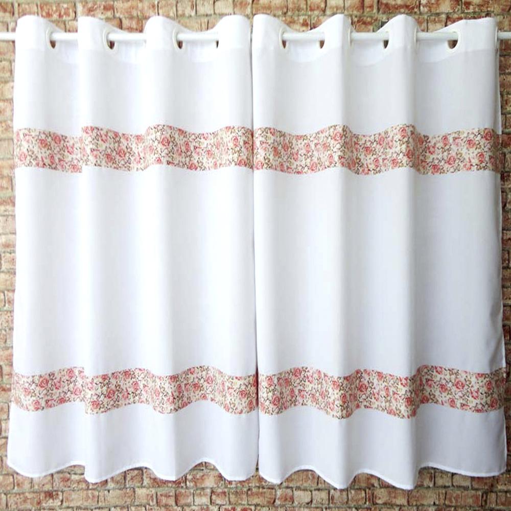 Cortina Para Cozinha Com Barrado Tecido Oxford 2,00M x 1,20M Para Varão Simples - Floral