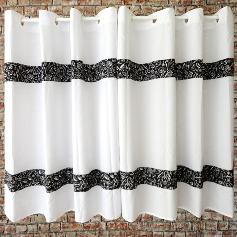 Cortina Para Cozinha Com Barrado Tecido Oxford 2,00M x 1,20M Para Varão Simples - Preto E Branco