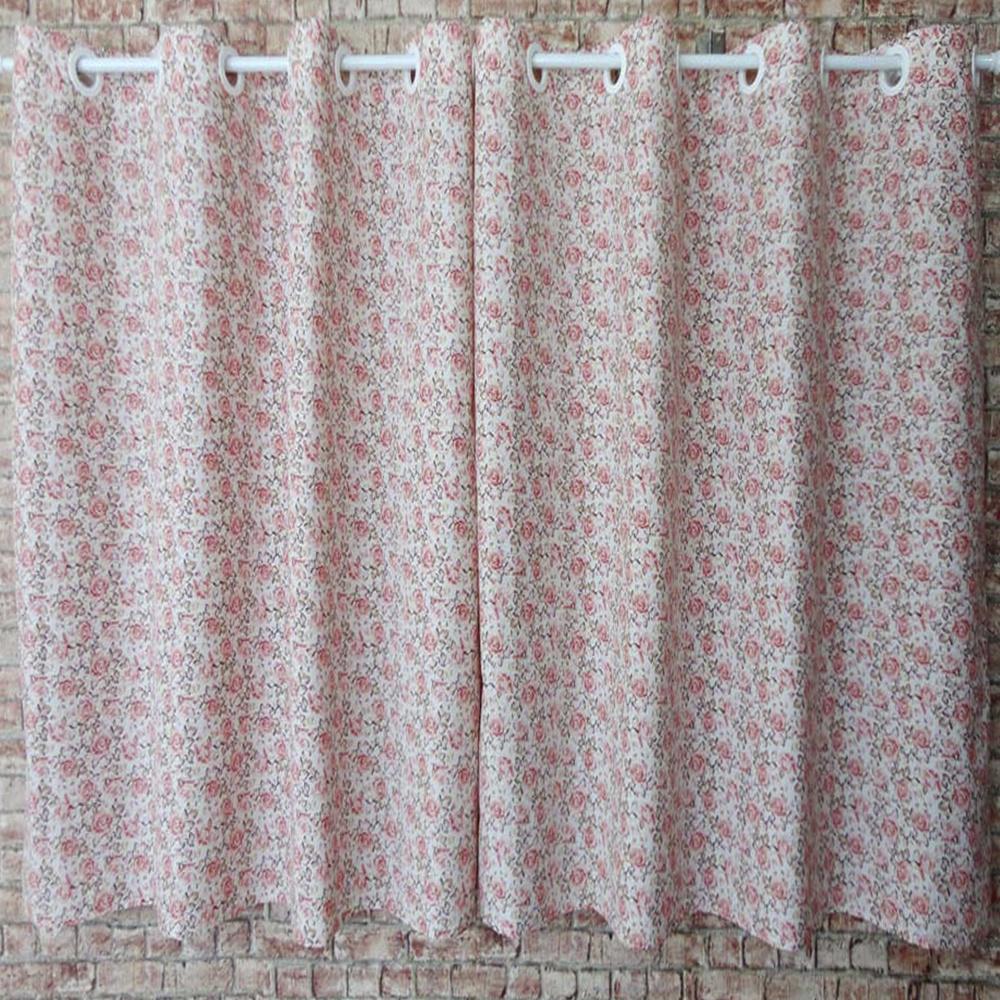Cortina Para Cozinha Estampada Tecido Misto 2,00M x 1,20M Para Varão Simples - Floral