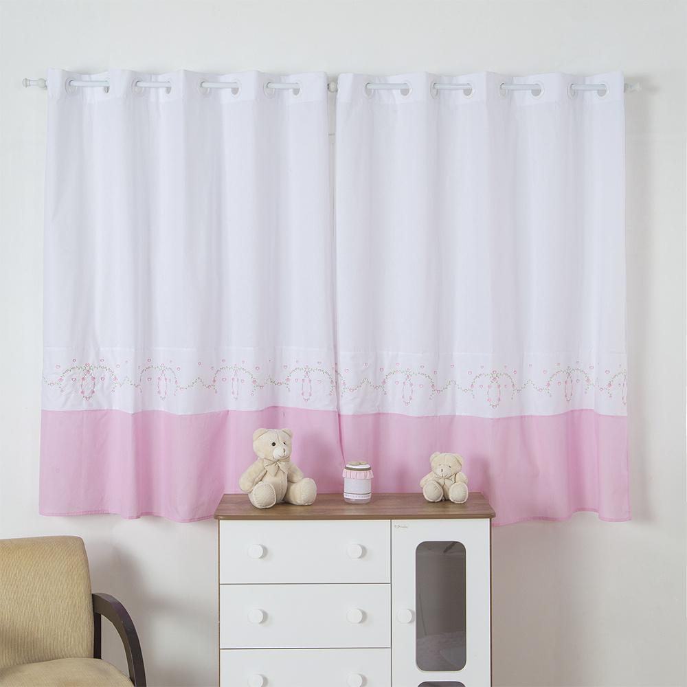 Cortina Para Quarto De Bebê 2,70m x 1,50m Para Varão Simples Tecido Misto Menina Floral - Rosa