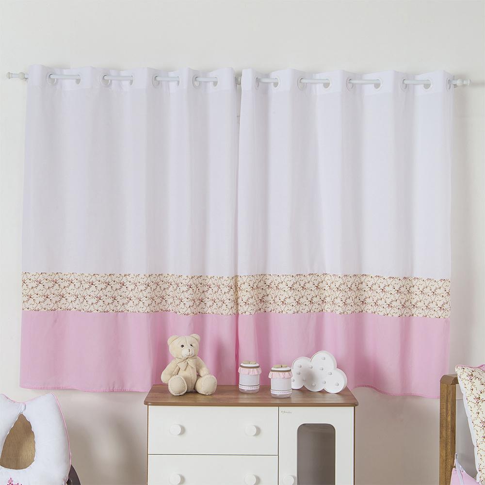 Cortina Para Quarto De Bebê 2,70m x 1,50m Para Varão Simples Tecido Misto Menina Princesa - Rosa